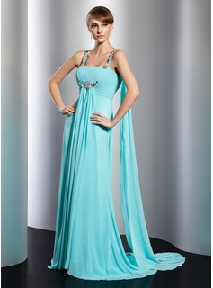 Empire Square Necklin Watteau Train Chiffon Evening Dress With Ruffle Beading