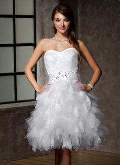 Corte A/Princesa Escote corazón Hasta la rodilla Tul Vestido de novia con Encaje Bordado Lentejuelas Lazo(s) Cascada de volantes