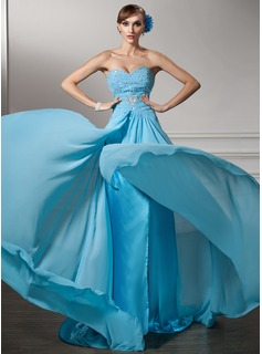 A-Line/Princess Sweetheart Court Train Chiffon Evening Dress With Ruffle Beading Sequins (017005596)