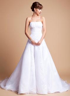 Corte A/Princesa Estrapless Cola capilla Satén Organdí Vestido de novia con Volantes Encaje Bordado