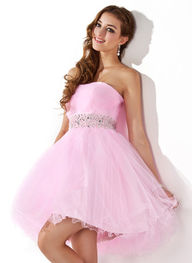 A-Line/Princess Sweetheart Short/Mini Tulle Homecoming Dress With Beading (022020909)
