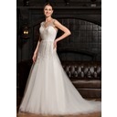 Ball-Gown V-neck Court Train Tulle Wedding Dress With Ruffle (002067240)