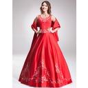 Duchesse-Linie U-Ausschnitt Bodenlang Satin Quinceañera Kleid (Kleid für die Geburtstagsfeier) mit Bestickt Perlen verziert (021003160)