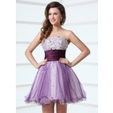 A-Line/Princess Strapless Short/Mini Satin Tulle Cocktail Dress With Ruffle Beading (016017309)