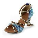 De mujer Satén Tacones Danza latina Sala de Baile Matrimonio Partido con Rhinestone Tira de tobillo Zapatos de Danza (053018501)