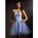 Forme Princesse Bustier en coeur Court/Mini Tulle Robe de soirée étudiante avec Emperler Sequins (022008121)