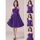 A-Line/Princess Sweetheart Knee-Length Lace Bridesmaid Dress With Ruffle Bow(s) (007057696)