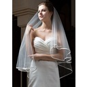 Two-tier Fingertip Bridal Veils With Ribbon Edge (006034301)