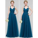 A-Line/Princess V-neck Floor-Length Tulle Bridesmaid Dress With Ruffle Bow(s) (007090175)