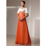 Empire V-neck Floor-Length Chiffon Satin Bridesmaid Dress (007014459)
