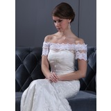 Trompete/Sereia Sem o ombro Cauda de sereia Cetim Tule Vestido de noiva com Pregueado Renda Bordado