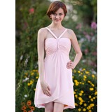 Empire V-neck Asymmetrical Chiffon Bridesmaid Dress With Ruffle