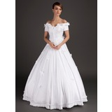 Ball-Gown Off-the-Shoulder Floor-Length Satin Wedding Dress With Lace Beadwork Flower(s)