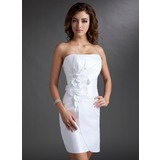 Sheath/Column Strapless Short/Mini Taffeta Homecoming Dress With Ruffle Flower(s) Bow(s)