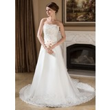 A-Line/Princess Strapless Chapel Train Satin Organza Wedding Dress With Ruffle Lace Beading Sequins