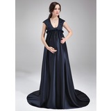 Empire Scoop Neck Sweep Train Charmeuse Charmeuse Maternity Bridesmaid Dress With Ruffle