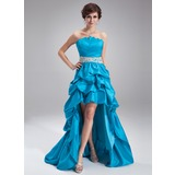 A-Line/Princess Scalloped Neck Asymmetrical Taffeta Prom Dress With Ruffle Beading Appliques (018020930)