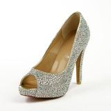 Leatherette Stiletto Heel Sandals Platform Peep Toe With Rhinestone shoes (085026633)