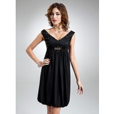 Empire V-neck Knee-Length Chiffon Homecoming Dress With Ruffle Beading (022009305)