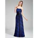 Sheath/Column Sweetheart Floor-Length Charmeuse Lace Bridesmaid Dress With Flower(s)