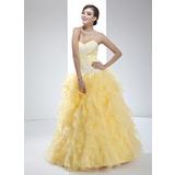 Duchesse-Linie Herzausschnitt Bodenlang Organza Quinceañera Kleid (Kleid für die Geburtstagsfeier) mit Applikationen Spitze Gestufte Rüschen