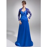 Sheath Sweetheart Sweep Train Charmeuse Mother of the Bride Dress With Ruffle (008006396)
