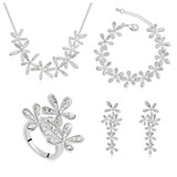 Flower Shaped Platinum Plated/Champaign Gold Plated With Crystal Women's Jewelry Sets