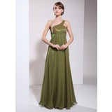 Empire One-Shoulder Floor-Length Chiffon Charmeuse Mother of the Bride Dress With Ruffle Beading (008006106)