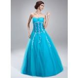 A-Linie/Princess-Linie Herzausschnitt Bodenlang Tüll Quinceañera Kleid (Kleid für die Geburtstagsfeier) mit Perlen verziert Applikationen Spitze Pailletten
