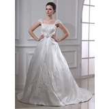Ball-Gown Square Neckline Court Train Organza Satin Wedding Dress With Embroidery Ruffle Beadwork (002011665)
