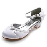Women's Satin Low Heel Closed Toe Flats With Buckle Rhinestone