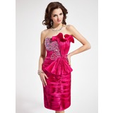 Sheath/Column Sweetheart Knee-Length Taffeta Cocktail Dress With Beading Sequins Bow(s) Pleated