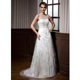 Corte A/Princesa Escote redondo Barrer/Cepillo tren Encaje Vestido de novia con Bordado