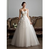 Ball-Gown Sweetheart Floor-Length Tulle Charmeuse Wedding Dress With Ruffle Sash Beading Appliques Flower(s) (002013803)