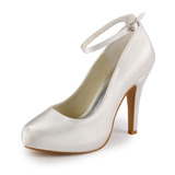 Women's Satin Cone Heel Closed Toe Pumps With Buckle (047005346)