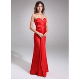 Sheath V-neck Floor-Length Charmeuse Desperate Housewives Style Dresses With Ruffle (025003979)
