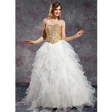 Ball-Gown Sweetheart Floor-Length Organza Prom Dress With Beading (018019131)