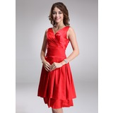 A-Line/Princess V-neck Knee-Length Charmeuse Bridesmaid Dress With Ruffle (007022523)