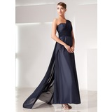 A-Line/Princess One-Shoulder Watteau Train Chiffon Taffeta Evening Dress With Ruffle