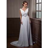 A-Line/Princess V-neck Court Train Chiffon Wedding Dress With Ruffle Beadwork (002011388)