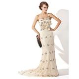 A-Linie/Princess-Linie One-Shoulder-Träger Sweep/Pinsel zug Spitze Kleid für die Brautmutter mit Rüschen Perlen verziert Pailletten