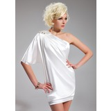 Sheath/Column One-Shoulder Short/Mini Charmeuse Cocktail Dress With Beading