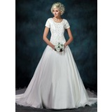 Ball-Gown Square Neckline Chapel Train Organza Satin Wedding Dress With Embroidery Beadwork Sequins (002000540)