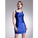 Sheath Square Neckline Short/Mini Charmeuse Cocktail Dress With Ruffle Beading (016014490)