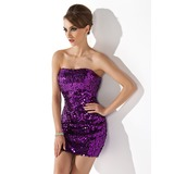 Sheath Strapless Short/Mini Sequined Cocktail Dress (016020916)