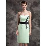 Sheath/Column Sweetheart Knee-Length Satin Mother of the Bride Dress With Lace Sash Beading Sequins