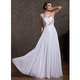 A-Linie/Princess-Linie Herzausschnitt Bodenlang Chiffon Festliche Kleid mit Rüschen Perlen verziert