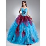 Duchesse-Linie Wellenkante Bodenlang Organza Quinceañera Kleid (Kleid für die Geburtstagsfeier) mit Perlen verziert Blumen Gestufte Rüschen