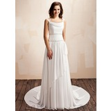 A-Line/Princess Cowl Neck Court Train Chiffon Wedding Dress With Ruffle Beadwork (002011559)