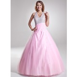 A-Line/Princess Halter Floor-Length Tulle Quinceanera Dress With Ruffle Beading Sequins